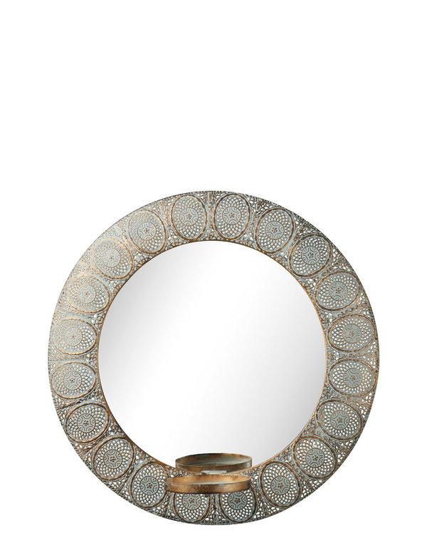 spiegel mit kerzenhalter esmeralda antik behandelt garten glamour. Black Bedroom Furniture Sets. Home Design Ideas